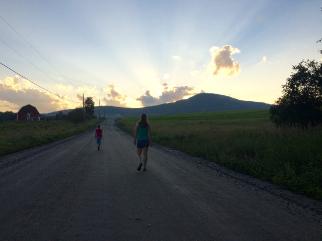 Elmore, Vermont.  Evening and girls.